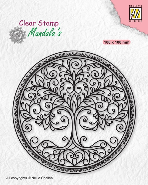 Nellie's Choice-  Clear stempel- Mandela Cirkel with Tree: CSMAN003