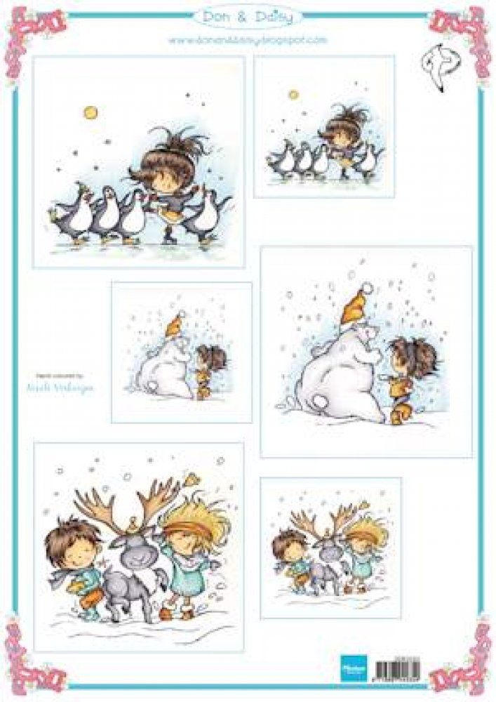 Marianne Design- Knipvel- Don & Daisy swinging in the snow: DDK3220