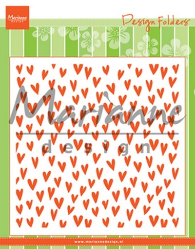 Marianne Design- Embossing folder-Trendy Hearts; DF3438