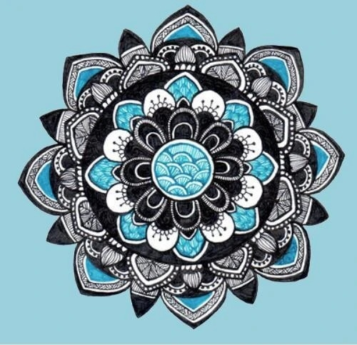 Diamond Painting- Ronde steentjes- Mandala blauw (FULL)- : DL4040/117