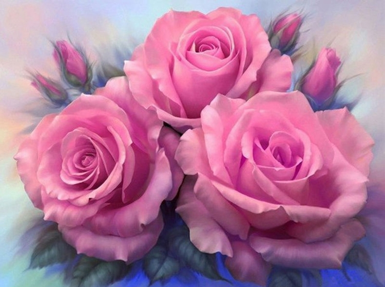 Diamond Painting- Ronde steentjes- Rose Roses (FULL)- : DL4050/108