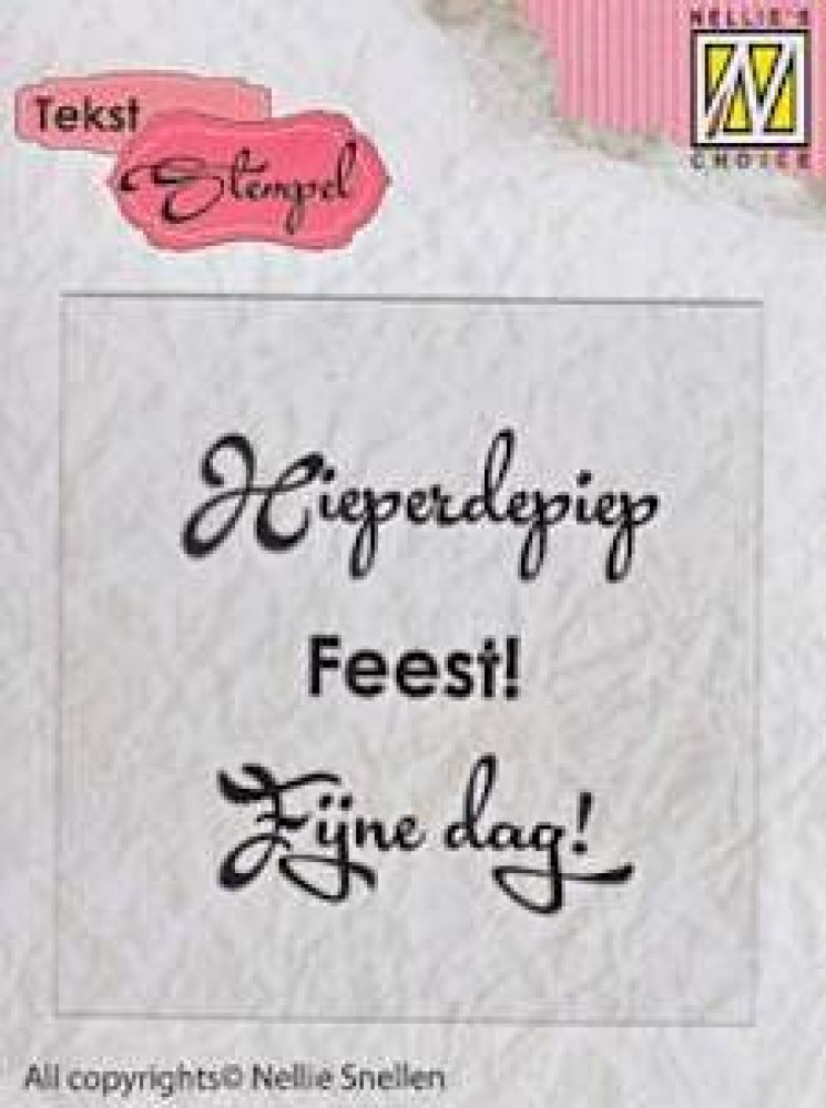 Nellie`s Choice- Clear stamp tekst - Hieperdepiep, Feest, Fijne Dag: DTCS001