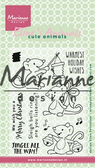 Marianne Design- Clear stempel- Eline's Christmas Mice: EC0174