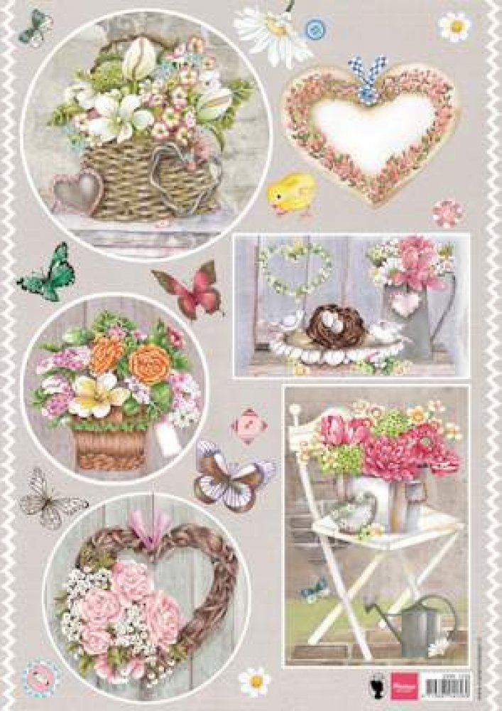 Marianne Design- 3d knipvel- Country Style Hearts: EWK1239
