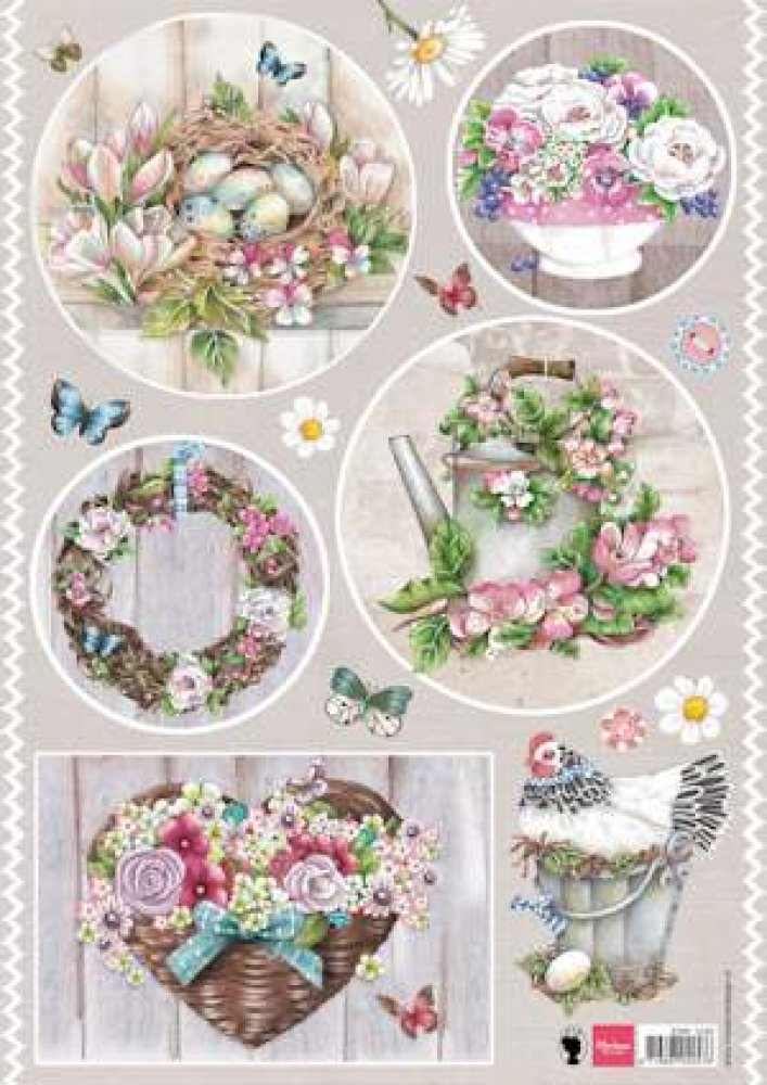 Marianne Design- 3d knipvel- Country Style Flowers: EWK1240