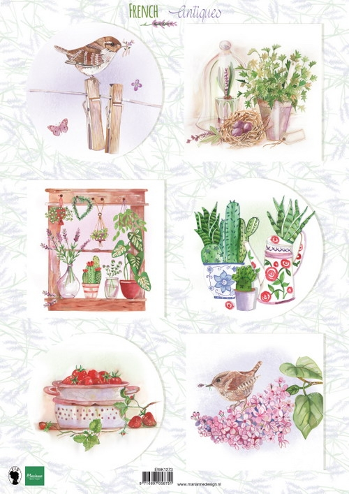 Marianne Design- Knipvel- French antiques herbs: EWK1273