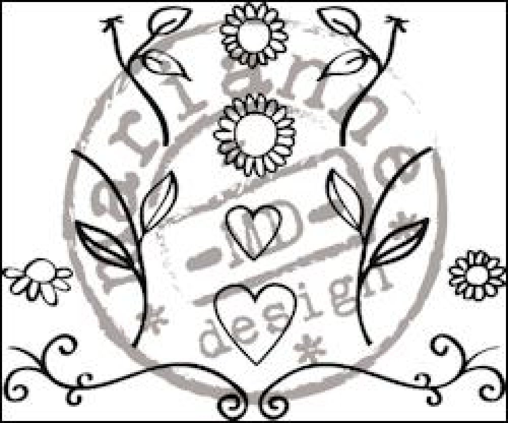 Marianne Design, Quilling clearstamp Flowers & Hearts: FG2462