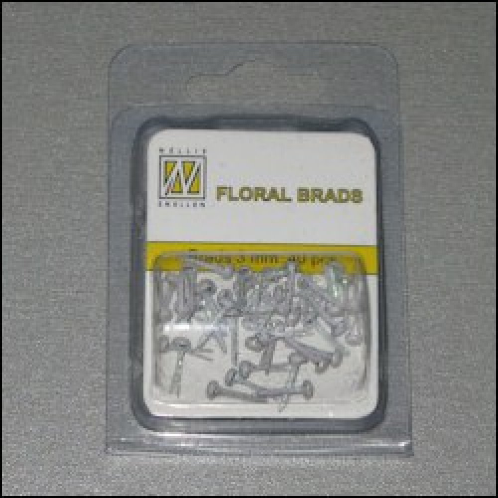 Floral glitter Brads 3 mm wit: FLP-GB002