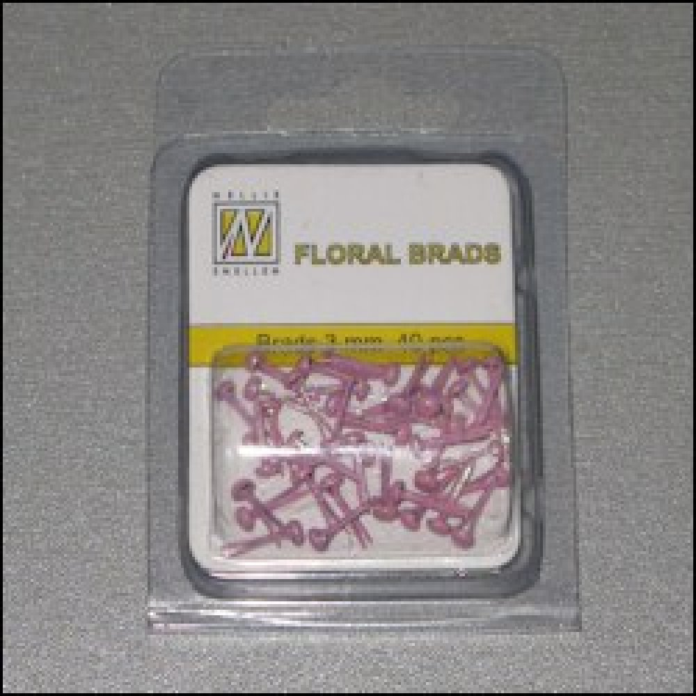 Floral glitter Brads 3 mm rose: FLP-GB003