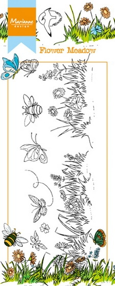 Marianne Design- Clearstempel- Border Flower Meadow: HT1613