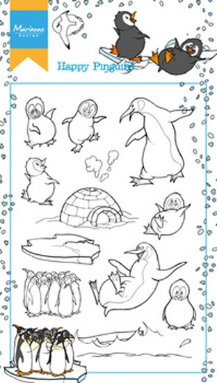 Marianne Design- Clear stempel- Hetty's happy pinquins: HT1628