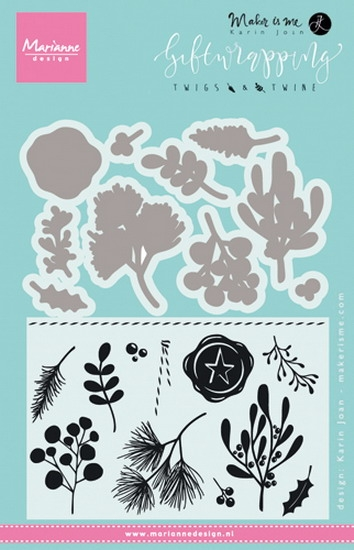 Marianne Design- Clearstempel met Snijstencil- Giftwrapping- Twigs & Twine: KJ1715