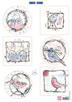 Marianne Design- 3d knipvel- Pastel Birds: MM1602