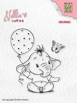 Nellie's Choice- Clearstempel- Cutties- Baby Olifant met ballon: NCCS007