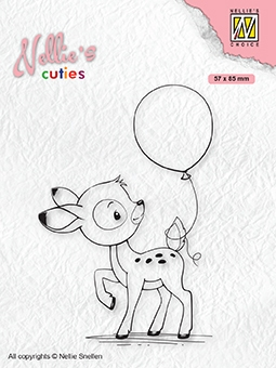 Nellie's Choice- Clearstempel- Cutties- Baby hertje met ballon: NCCS008