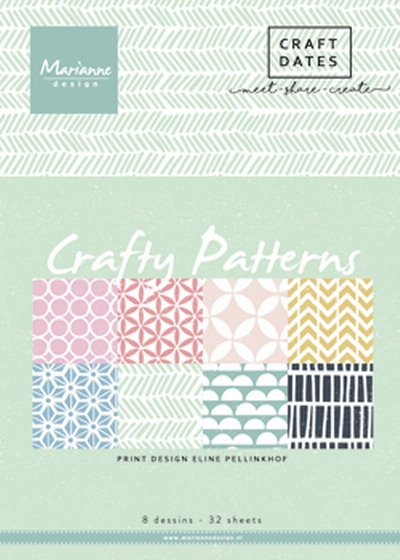 Marianne Design- Pretty Papers Bloc- Crafty Patterns: PB7054