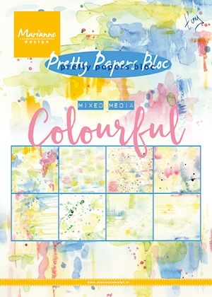 Marianne Design- Paperpack- Pretty Papers Bloc Mixed Media- Colourful: PK9140