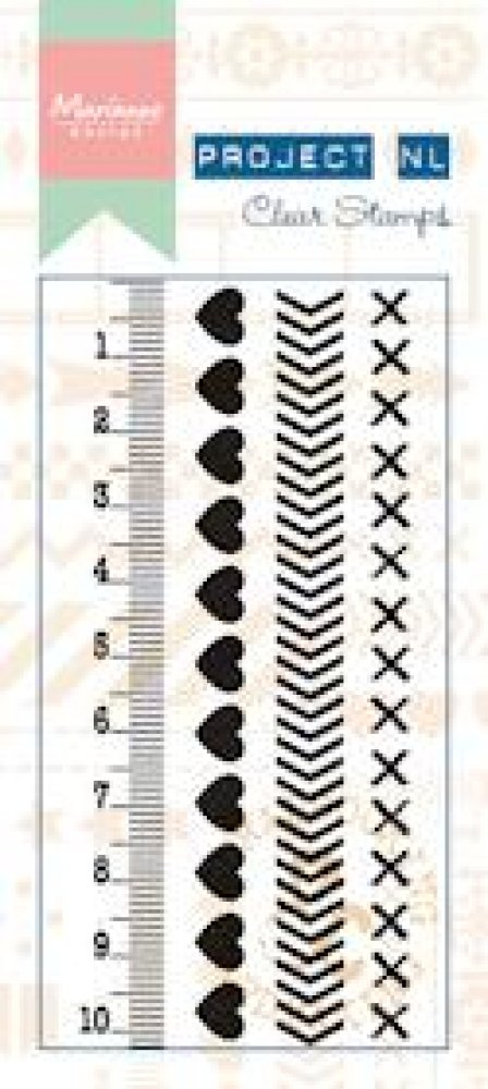 Marianne Design- Project NL- Clear stamp Border- Hearts: PL1503