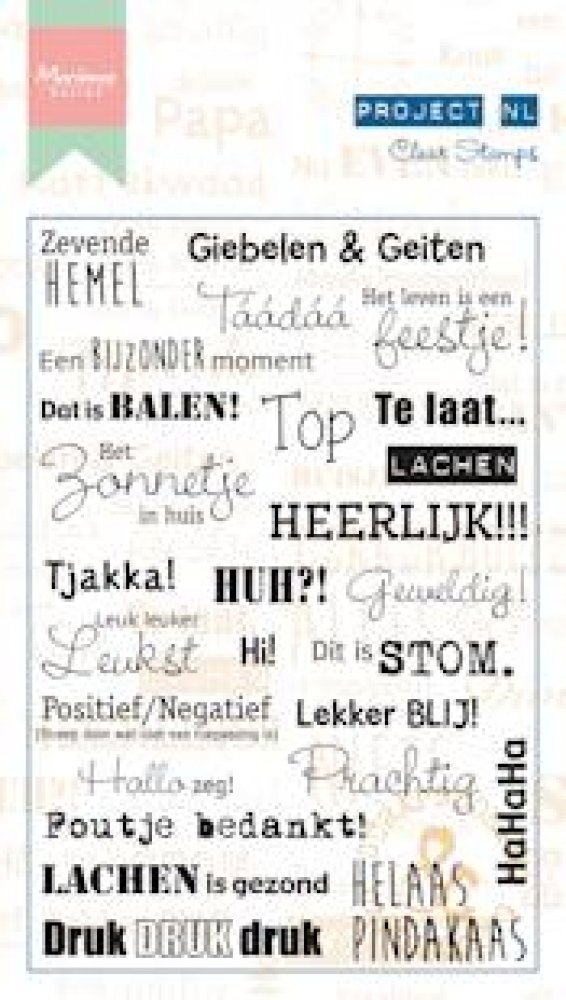 Marianne Design- Project NL- Clear stamp Teksten- Emoties: PL1507