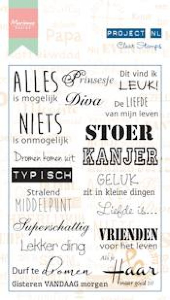 Marianne Design- Project NL- Clear stamp Teksten- Individu: PL1508