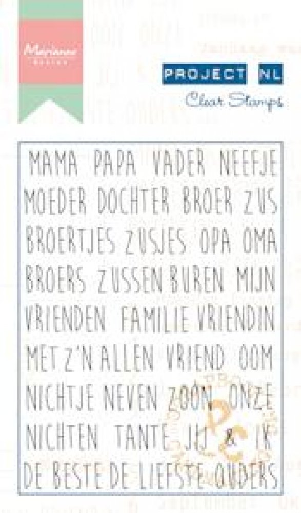 Marianne Design- Project NL- Clear stamp Teksten- Stamboom: PL1509