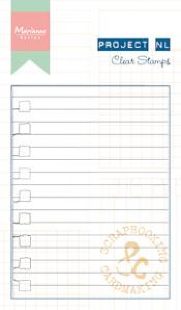 Marianne Design- Project NL- Clear stamp- Lijn papier: PL1511