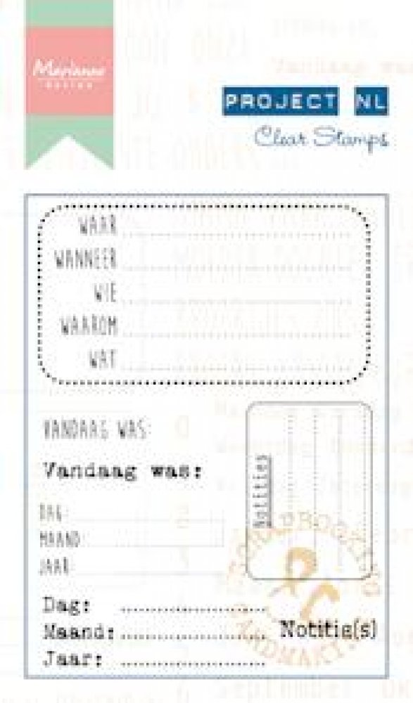 Marianne Design- Project NL- Clear stamp- Notities: PL1513