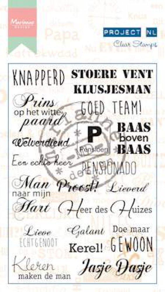Marianne Design- Project NL- Clearstamp- Heren(ouder): PL1519