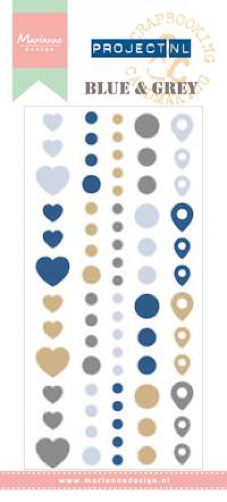 Marianne Design- Project NL- Enamel stickers Blue & Gray: PL4501