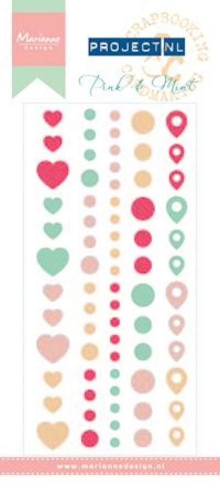 Marianne Design- Project NL- Enamel stickers Pink & Mint: PL4504