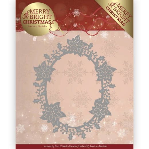 Precious Marieke- Die- Merry and Bright Christmas- Poinsettia Oval, met gratis Amy Design Topper CD11144: PM10126