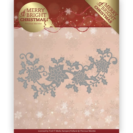 Precious Marieke- Die- Merry and Bright Christmas- Poinsettia Border: PM10129