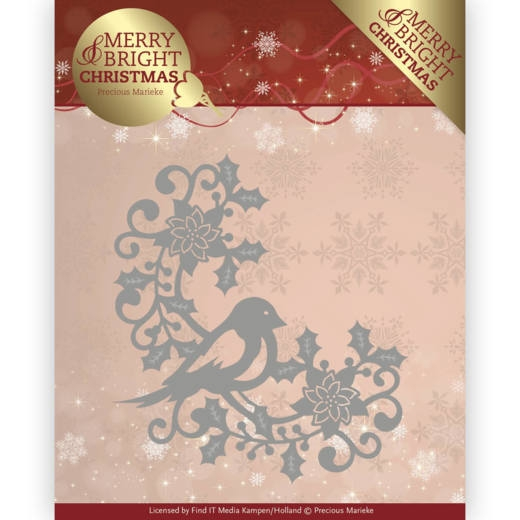 Precious Marieke- Die- Merry and Bright Christmas- Bird Corner: PM10130