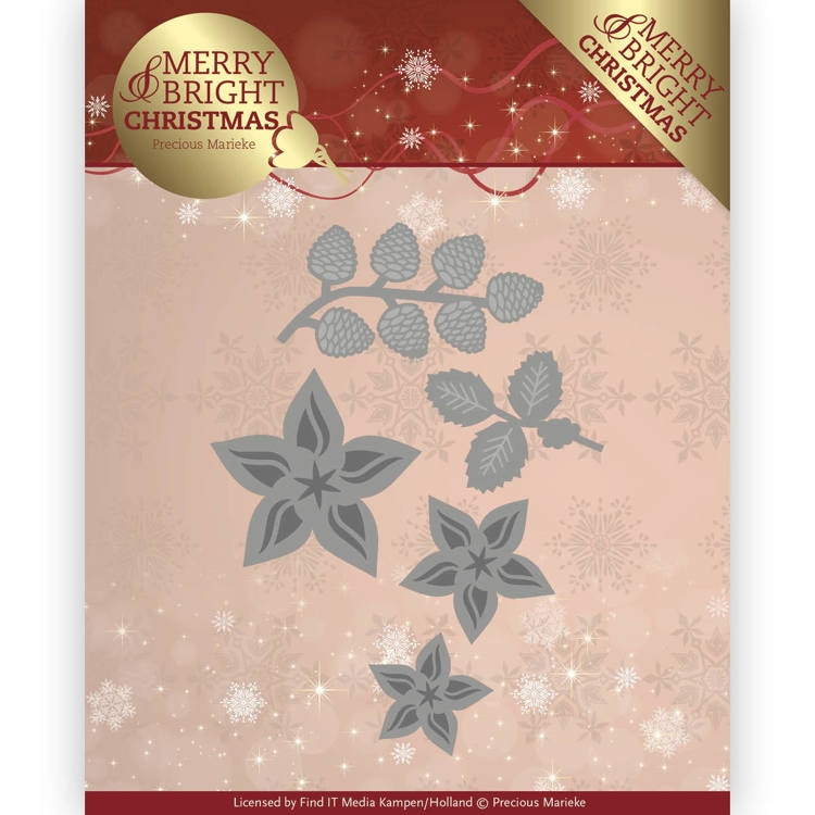 Precious Marieke- Die- Merry and Bright Christmas- Christmas Florals: PM10132