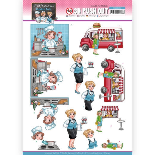 Yvonne Creations- 3D Push Out- Bubbly Girls Professions- Catering: SB10547
