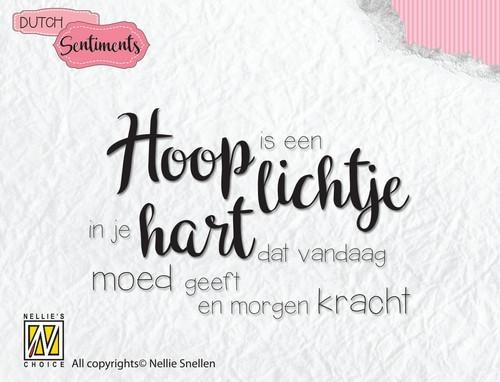 Nellie's Choice- Clearstempel Sentiments- Hoop is een lichtje: SCENC009