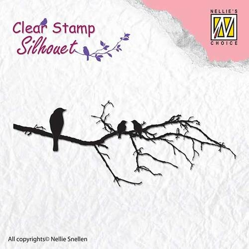 Nellie's Choice- Clearstempel- Silhouet- Branch with Birds: SIL010