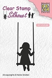 Nellie's Choice- Clearstempel- Silhouette Childrs play swinging: SIL045