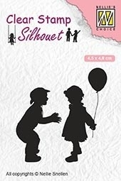 Nellie's Choice- Clearstempel- Silhouette children with balloon: SIL046
