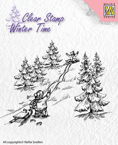 Nellie's Choice- Clearstamp- Winter Time- Sledge Fun: WT003