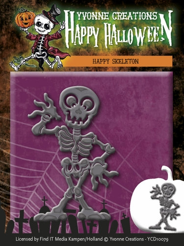 Yvonne Creations- Die- Happy Halloween- Happy Skelton: YCD10079