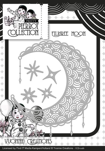 Yvonne Creations- Die- Pretty Pierrot Filigree Moon: YCD10081