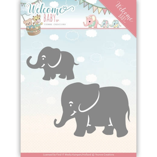 Yvonne Creations- Dies- Welcome Baby- Little Elephants: YCD10138