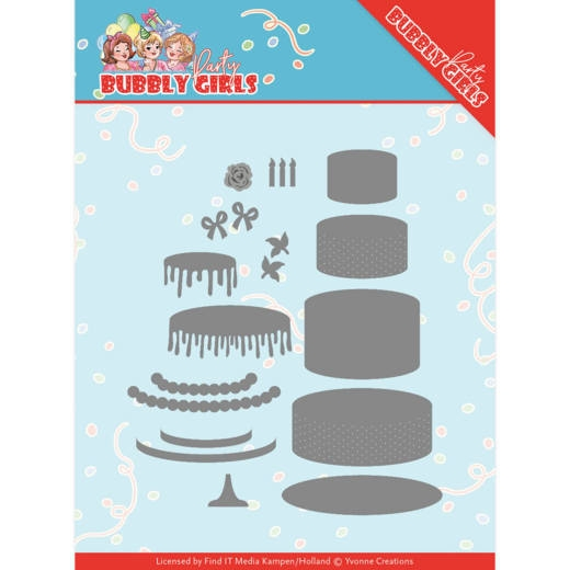 Yvonne Creations- Dies- Bubbly Girls Party- Birthday Cake: YCD10202