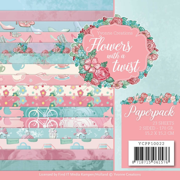 Yvonne Creations- Paperpack- Flowers with a Twist: YCPP10022